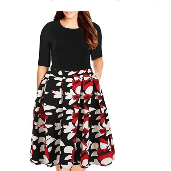 57519e578f0 Plus size flower dress swing dress